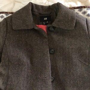 Brown wool herringbone peacoat